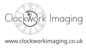 Logo for Clockwork Imaging, Clock face image overlaid with text.